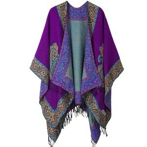 RETRO STYLE VINTAGE OPEN FRONT PATTERN SHAWL
